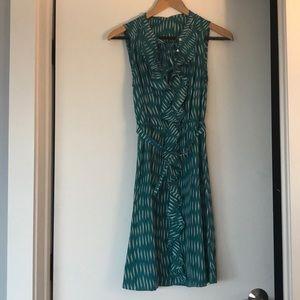 Anthropologie belted silk ruffle dress
